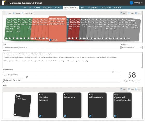 View of LightStance Business360 Software - Opportunity Identification and Prioritization Screenshot